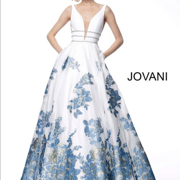 shop best sellers brand new most popular Jovani Dresses | 2019 White And Blue Floral Prom Dress | Poshmark
